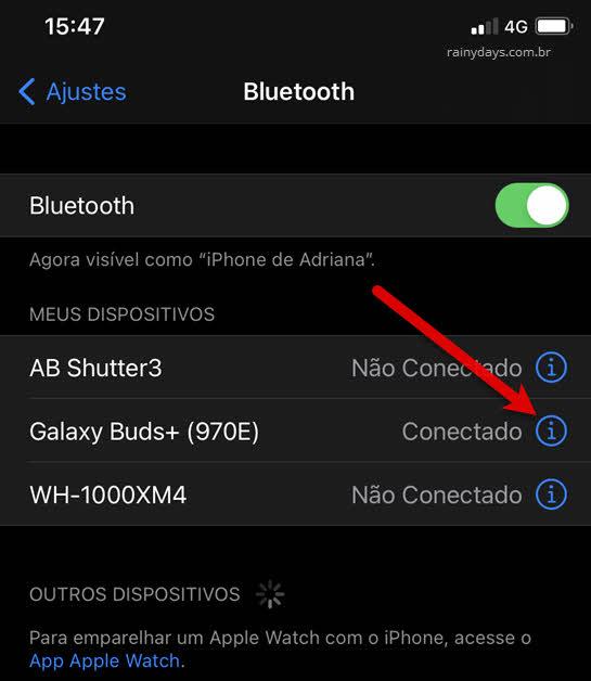 ajustes Bluetooth dispositivos iPhone