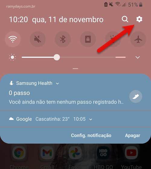barra de notificação ícone da engrenagem configurações Android