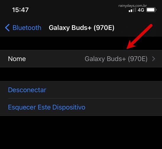 Como mudar nome de dispositivos Bluetooth no iPhone