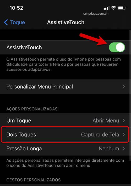 Como tirar foto da tela do iPhone sem botão físico