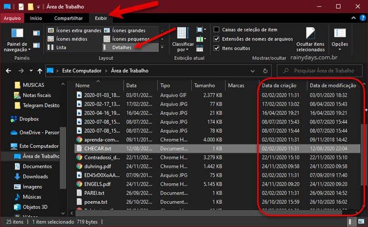Como ver a última data que arquivo foi modificado pelo Explorador de Arquivos