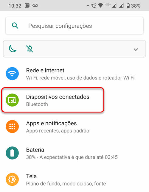 Dispositivos conectados Configurações Android
