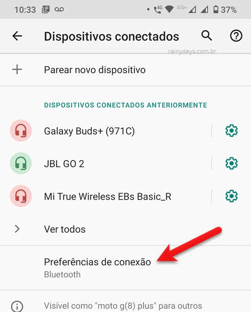 dispositivos conectados preferências de conexão Bluetooth Android