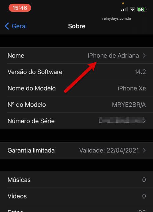 Sobre nome Ajustes do iPhone