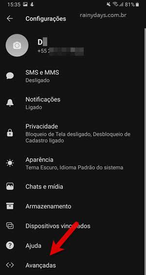 configurações avançadas app Signal