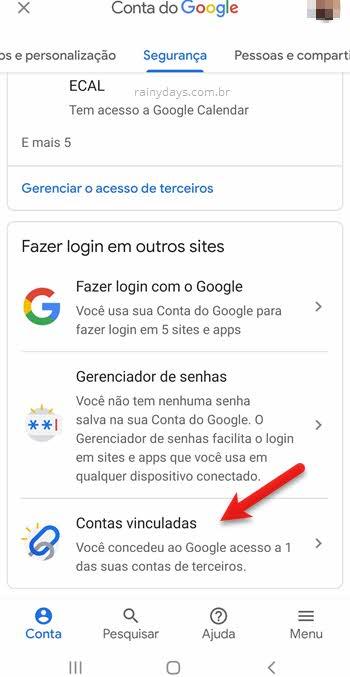configurações de segurança Google, Contas vinculadas para desconectar sites