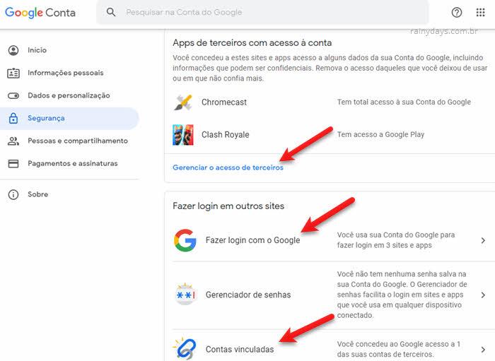 configurações segurança conta Google apps de terceiros, login com google, contas vinculadas