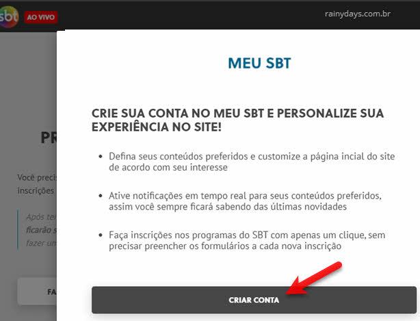 criar conta no Meu SBT programas Sílvio Santos