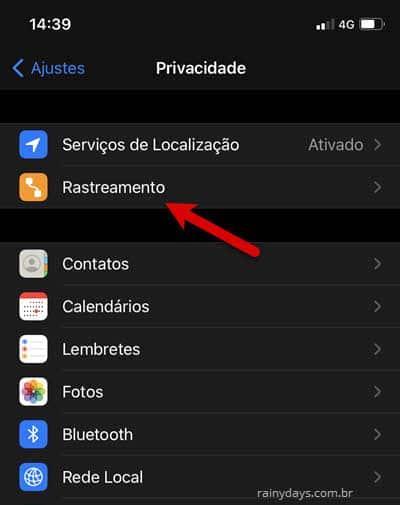 Ajustes privacidade Rastreamento iPhone