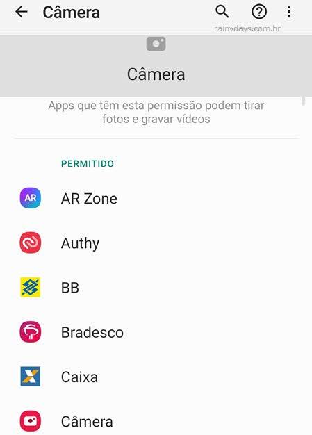Aplicativos com permissão para tirar fotos e gravar vídeos câmera Android