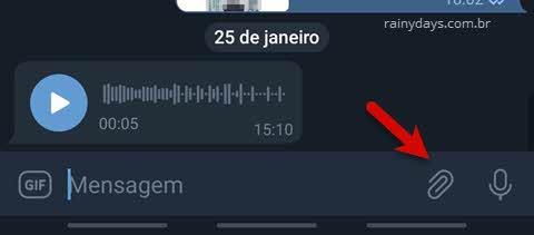 caixa de texto ícone clips Telegram Android