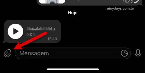 caixa de texto ícone clips Telegram iPhone