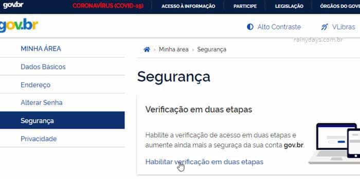 Passo a passo para ativar verificação em duas etapas no Gov.br