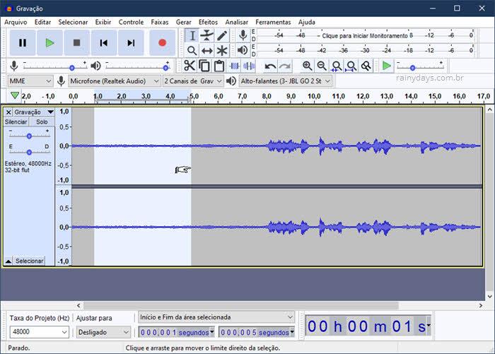 Como reduzir barulho de fundo de um áudio com Audacity