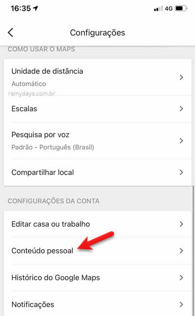 Configurações Conteúdo Pessoal Google Maps
