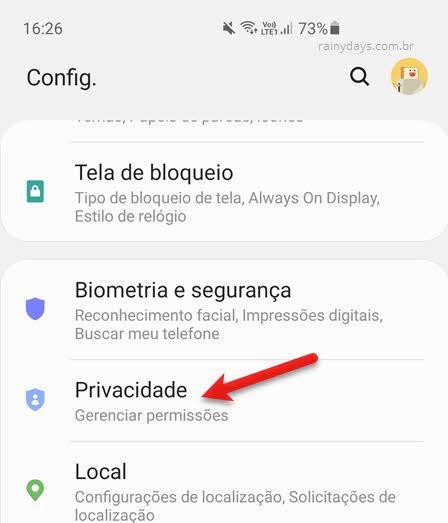 Configurações de privacidade Android