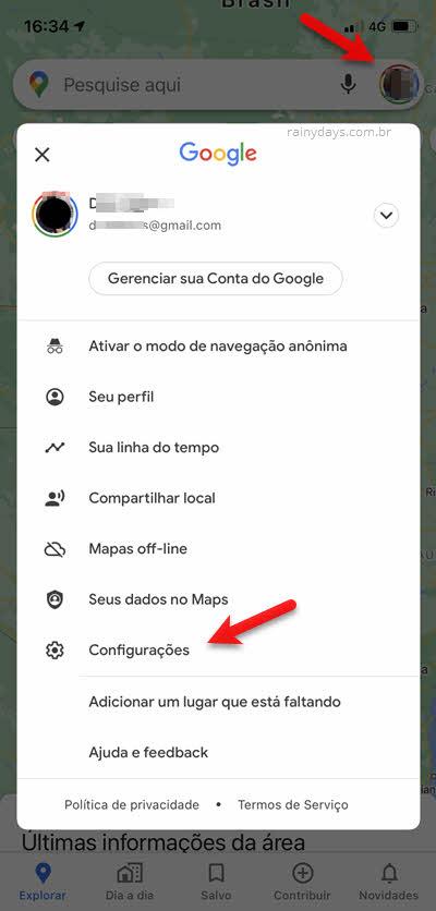 Configurações Google Maps iPhone Android