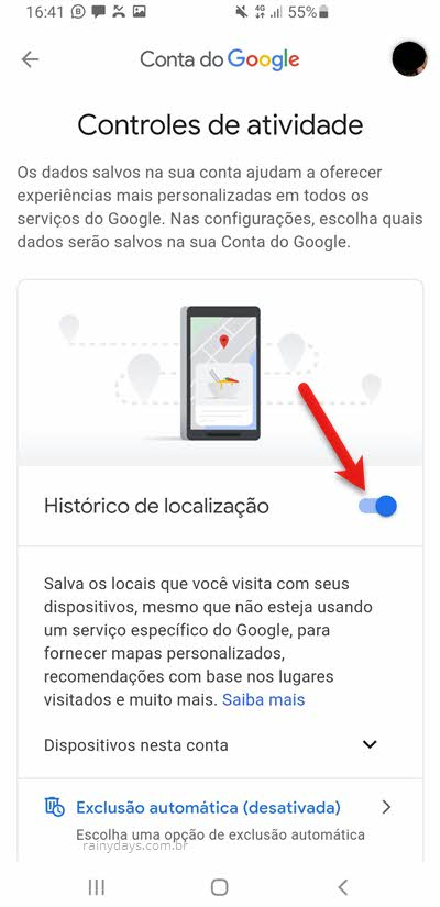 Controles de atividade Histórico de Localização conta do Google app