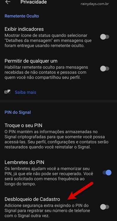 desbloqueio de cadastro, bloqueio de registro, proteção app Signal