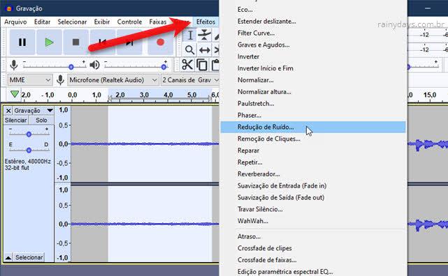 Efeitos Redução de Ruído Audacity reduzir barulho de fundo de um áudio
