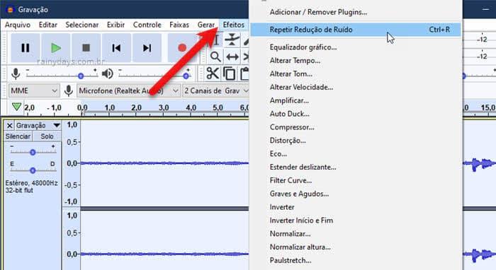 Efeitos repetir redução de ruído Audacity