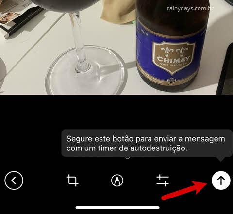 Enviar mensagem com timer de autodestruição Telegram iPhone