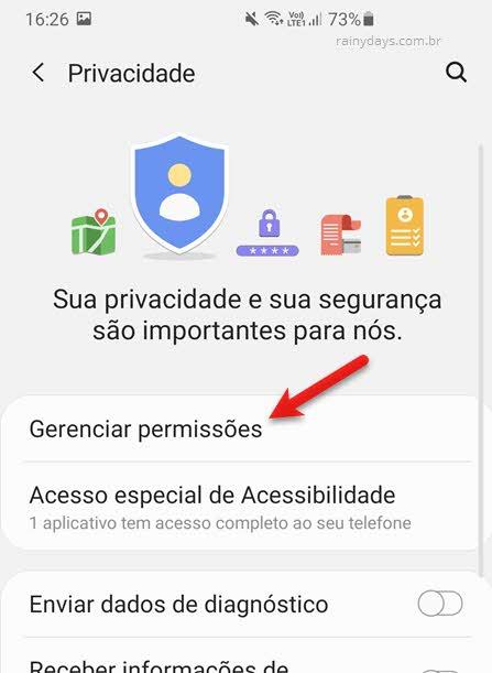 Gerenciar permissões de privacidade Android