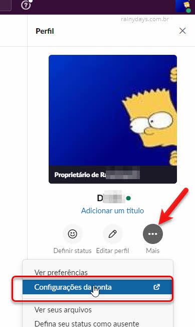 ícone três bolinhas Mais, configurações de conta Slack