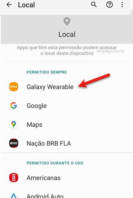 Alterar permissão de aplicativos do Android que acessam a localização