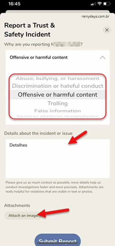 Reportar incidente com uma pessoa