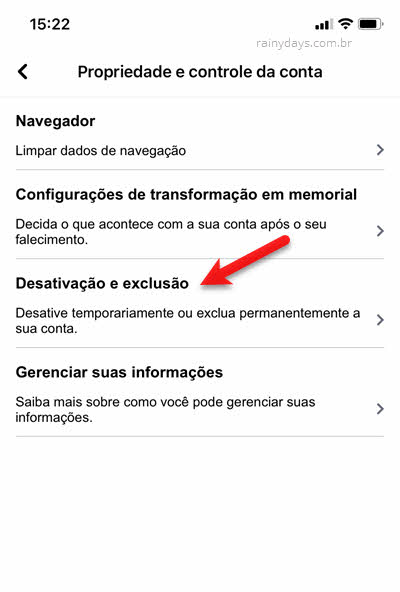Desativação e exclusão de conta pelo app