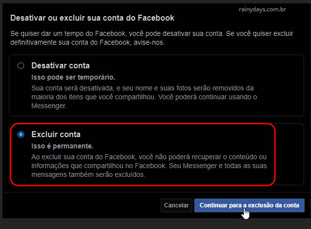 Desativar ou excluir conta do Facebook permanentemente