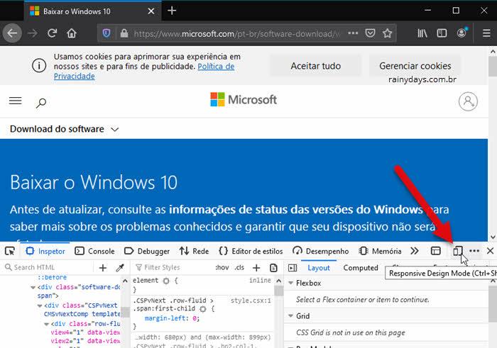 Ferramenta de desenvolvedor Modo Design Adaptável Firefox