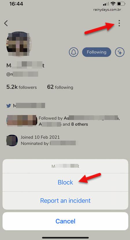 ícone de três bolinhas, block bloquear usuário Clubhouse