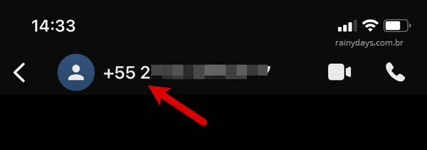 Nome da pessoa, menu superior Signal iPhone