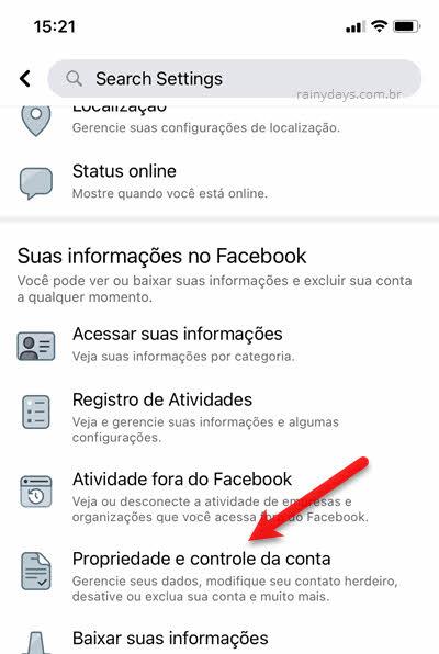 Suas informações Facebook app, Propriedade e controle da conta