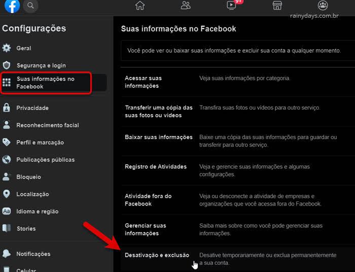 Suas informações no Facebook, desativação e exclusão de conta