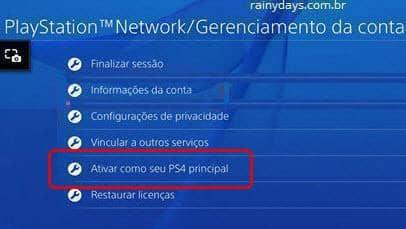 ativar como seu principal PS4