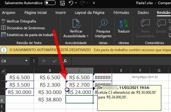 Como rastrear alterações na planilha do Excel