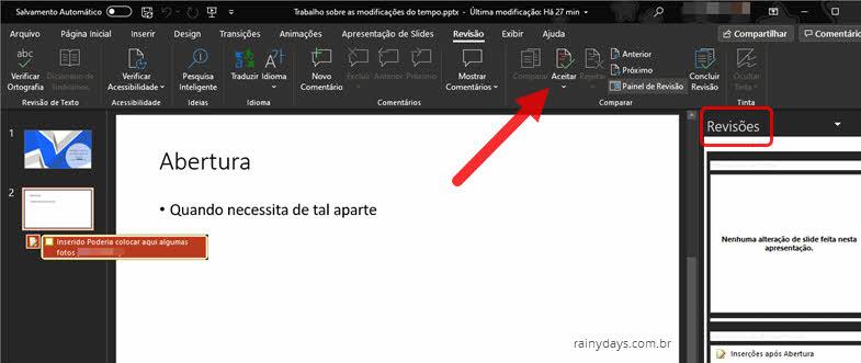 Como rastrear alterações no PowerPoint e aceitar modificações