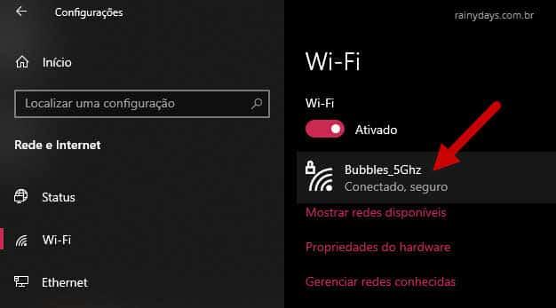 conexão WiFi ativada nome da conexão Windows