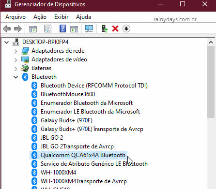Gerenciador de Dispositivos adaptador Bluetooth Windows