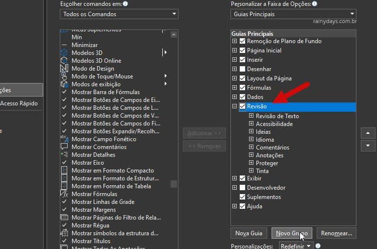 Personalizar faixa de opções Novo Grupo dentro da Revisão Excel