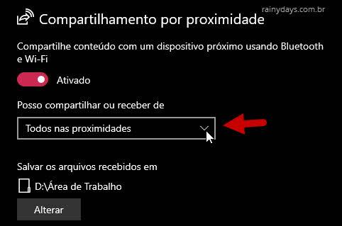 Posso compartilhar ou receber de Todos nas proximidades Windows 10