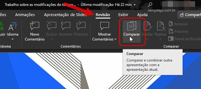 Revisão PowerPoint comparar arquivos para revisar edição