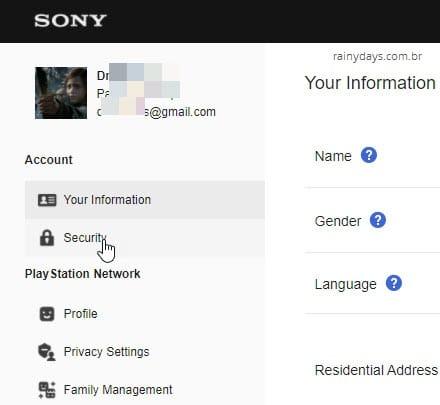 Security, Segurança, de conta Playstation Sony