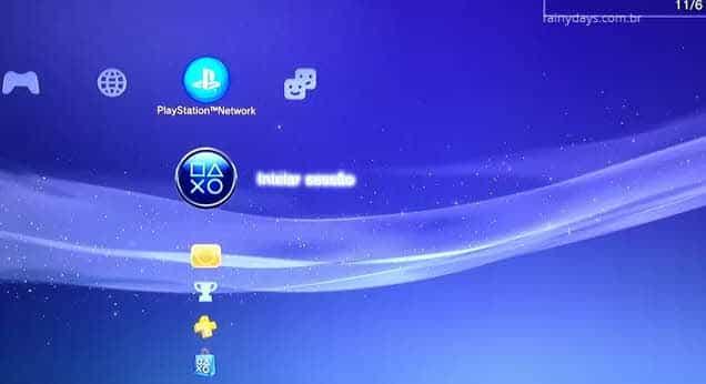 XMB Playstation Network PSN iniciar sessão PS3