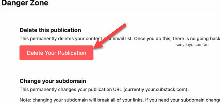 Excluir publicação do Substack