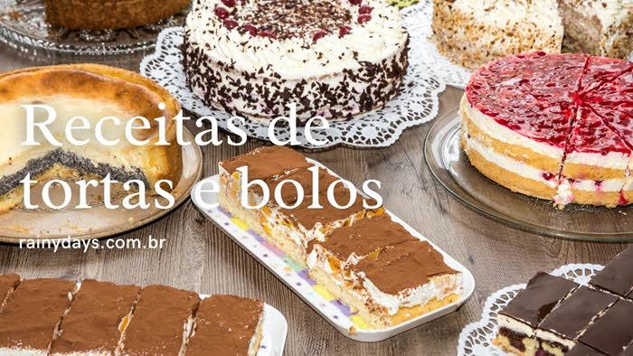 Receitas diversas de tortas e bolos
