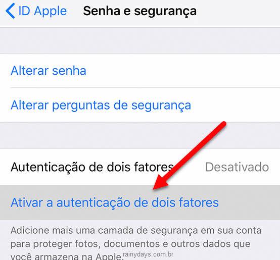 Ativar verificação em dois fatores pelo iPhone